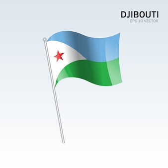Bandiera sventolante gibuti isolato su sfondo grigio