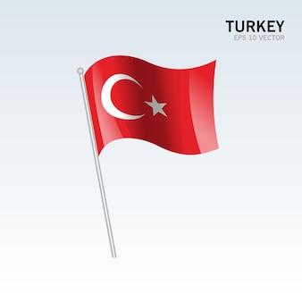 Bandiera sventolante turchia isolato su sfondo grigio