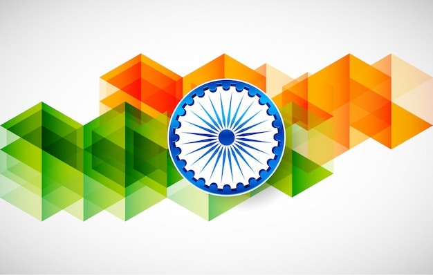 Bandiera tricolore dell'india per la festa della repubblica felice dell'india
