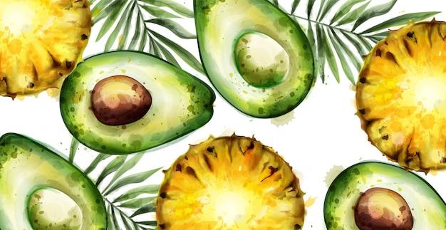 Bandiera tropicale dell'acquerello di avocado e ananas
