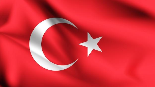 Bandiera turca che soffia nel vento.