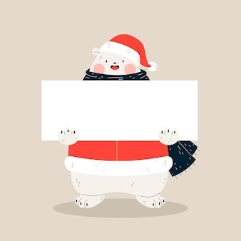 Bandiera vuota e orso polare con sciarpa e cappello di babbo natale