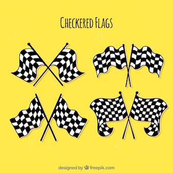 Bandiere a scacchi disegnate a mano classiche