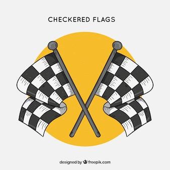 Bandiere a scacchi razza disegnata a mano