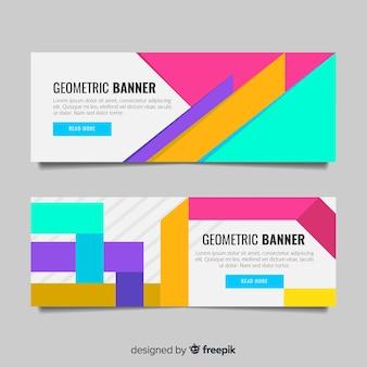 Bandiere astratte colorate con disegno geometrico
