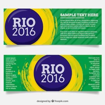 Bandiere astratte rio 2016 con i cerchi e vernice