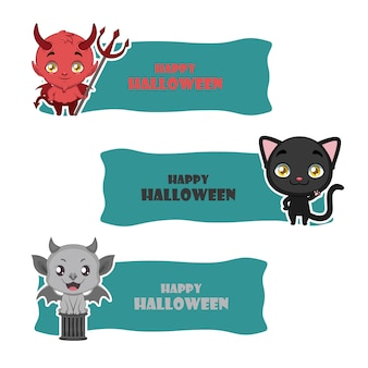 Bandiere carino di mostri di halloween