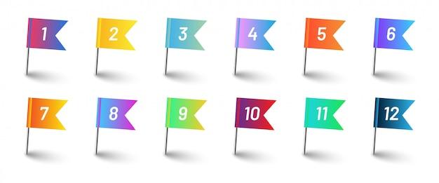 Bandiere colorate sfumate con numeri