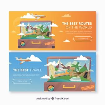 Bandiere con il concetto di viaggio