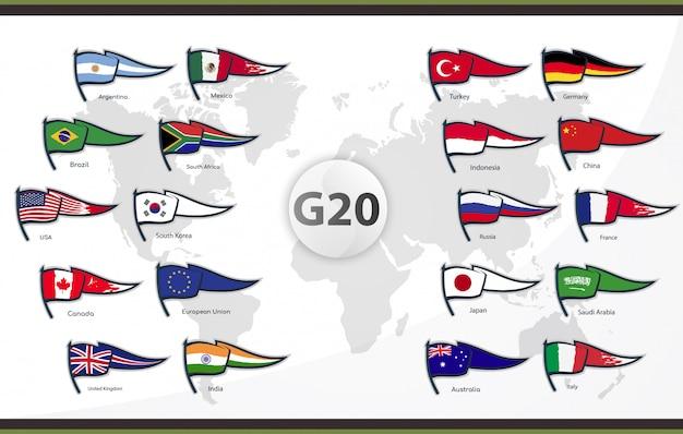 Bandiere dei paesi membri del g20