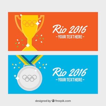 Bandiere del brasile con trofeo e medaglia