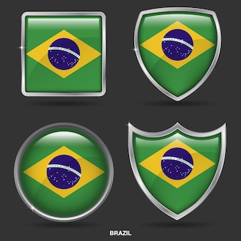 Bandiere del brasile in 4 icone di forma