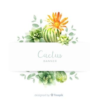 Bandiere del cactus dell'acquerello con la bandiera in bianco