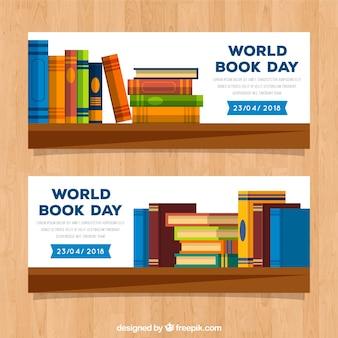 Bandiere del giorno mondiale del libro in stile piatto