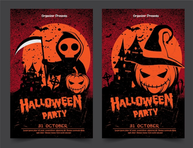 Bandiere del partito di notte di halloween con le zucche