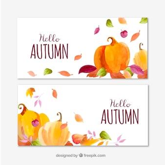 Bandiere dell'acquerello di autunno con zucche