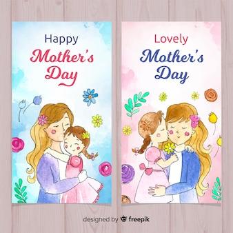 Bandiere dell'acquerello di festa della mamma