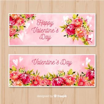 Bandiere dell'acquerello di san valentino