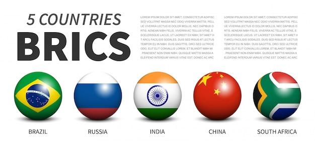 Bandiere dell'associazione brics in sfere tridimensionali