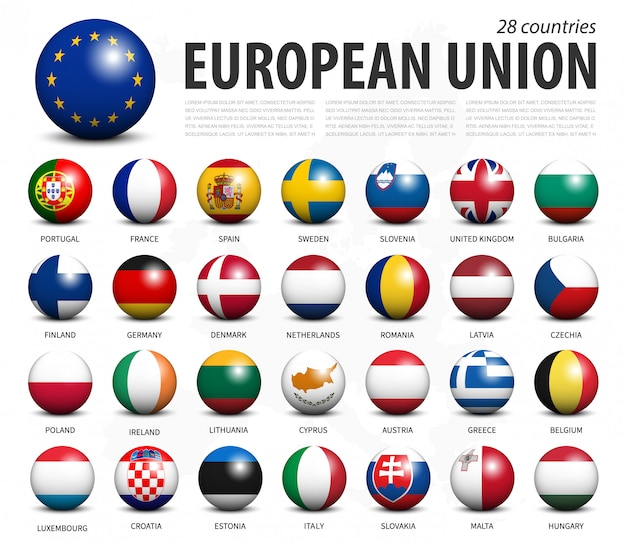 Bandiere dell'unione europea in sfere tridimensionali