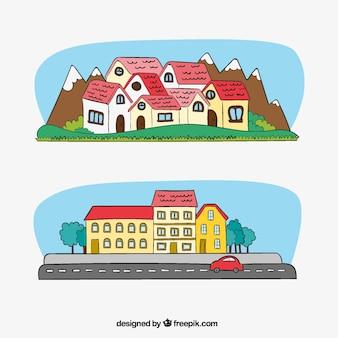 Bandiere della città e case con disegnati a mano montagne