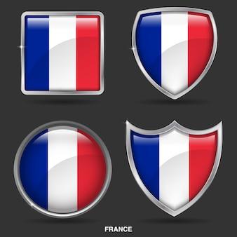 Bandiere della francia in 4 icone di forma