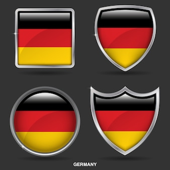 Bandiere della germania in 4 shape icon
