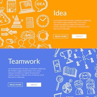 Bandiere delle icone di doodle di affari