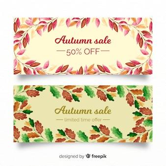 Bandiere di autunno con foglie d'autunno