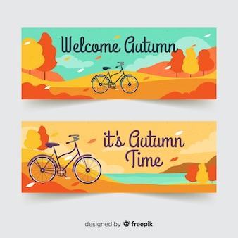 Bandiere di autunno disegnato a mano adorabile