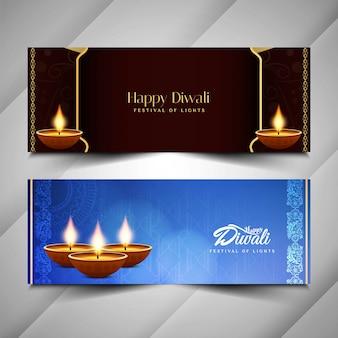 Bandiere di bella diwali felice astratto impostato