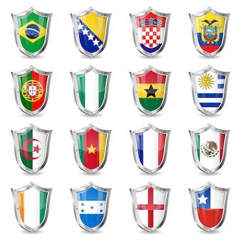 Bandiere di calcio sugli scudi