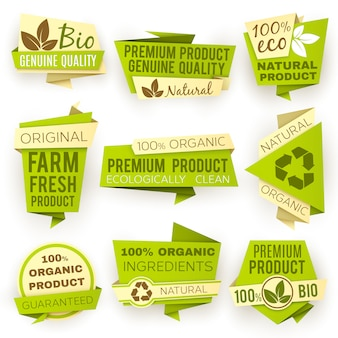 Bandiere di carta verde di origami di ecologia. set di tag e distintivi di vendita di prodotti biologici naturali eco.