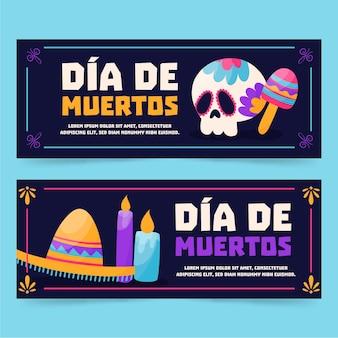 Bandiere di dia de muertos disegnate a mano