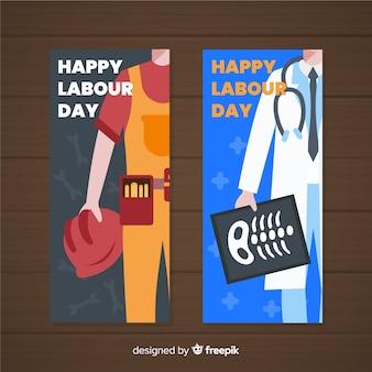 Bandiere di festa del lavoro disegnati a mano