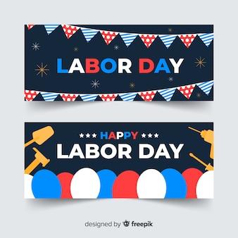 Bandiere di festa del lavoro usa piatto