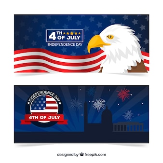 Bandiere di festa dell'indipendenza degli stati uniti con design piatto
