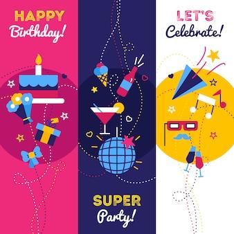 Bandiere di festa e compleanno di celebrazione con regali petardo bottiglia di champagne e torta