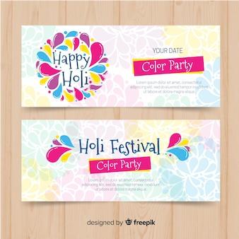 Bandiere di festival di holi disegnati a mano