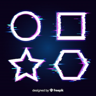Bandiere di forma geometrica glitch