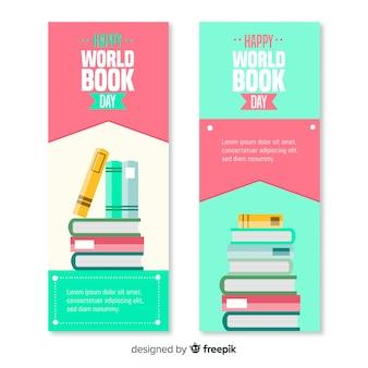 Bandiere di giorno del libro piatto mondo