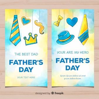 Bandiere di giorno di padri dell'acquerello