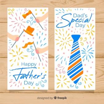 Bandiere di giorno di padri disegnati a mano