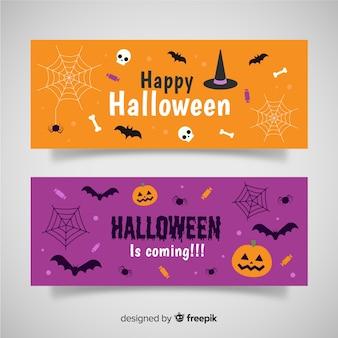 Bandiere di halloween piatto