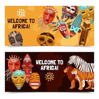 Bandiere di maschere tribali etnici africani