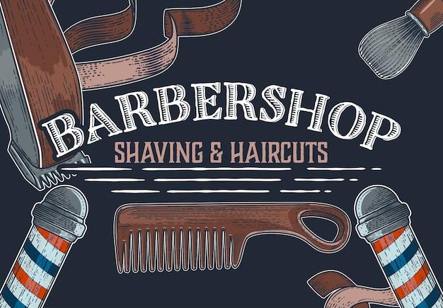 Bandiere di negozio di barbiere di vettore disegnato a mano
