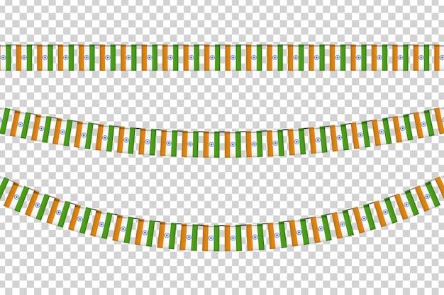 Bandiere di partito realistiche con motivo a bandiera indiana per la decorazione e la copertura sullo sfondo trasparente. concetto di felice giorno dell'indipendenza in india.