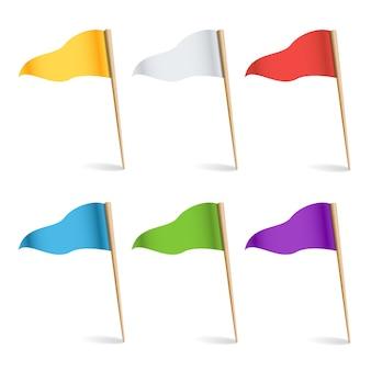 Bandiere di posizione. concetto di esplorare illustrazione.