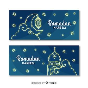Bandiere di ramadan disegnato a mano