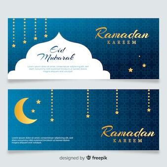 Bandiere di ramadan piatto